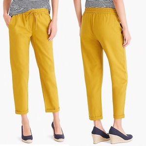 J Crew Linen-Cotton Drawstring Pants BLACK SZ 8
